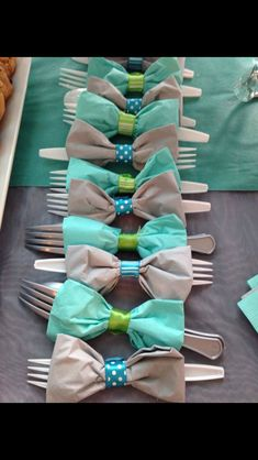 @elletee3 if she's having a boy!! Cute idea for a cutlery for baby boy babyshower