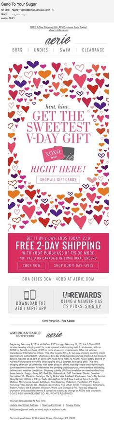 Aerie: 14 февраля (10.02.15). Интересный подход. Вместо очередного подбора продуктов для Дня влюблённых aerie предлагает подарить подарочную карту. Пусть вторая половинка сама выберет себе подходящий подарок.