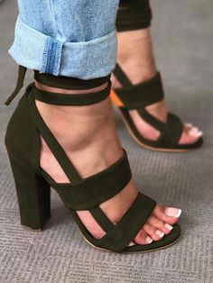 10d5ee9ff54e89 Fashion Solid Color Chunky Heeled Sandals  Highheels