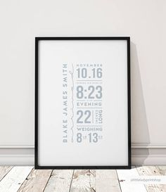 Custom Birth print Nursery Wall Art Baby Birth details