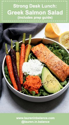 Set yourself up for a strong week!  Strong Desk Lunch: Greek Salmon Salad - includes recipe and prep guide #glutenfree #healthy #salads #lunch #lunchideas #salmon