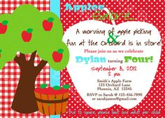 PRINTABLE Apple Picking Orchard Birthday Party Invitation DIY Printable By Luv Bug Design