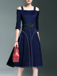 Blue Sleeve A-line Zipper Midi Dress with Belt Denim Fashion, Fashion Models, Simple Outfits, Cool Outfits, Indian Bridal Outfits, Denim Ideas, Western Dresses, One Piece Dress, Denim Outfit
