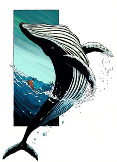 Whale by RachelCurtis on DeviantArt - I felt like drawing a whale? Cause inking with brushes is hard so I need to - Art And Illustration, Fuchs Illustration, Animal Drawings, Art Drawings, Arte Inspo, Whale Drawing, Whale Painting, Whale Sketch, Sea Drawing