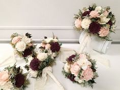 Burgundy and Blush Wedding Bouquet sola flowers by SylCadle