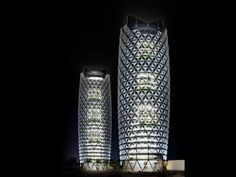 "For Abu Dhabi's newest pair of towers, Aedas Architects have designed a responsive facade which takes cultural cues from the ""mashrabiya"", a traditional Islamic lattice shading device."