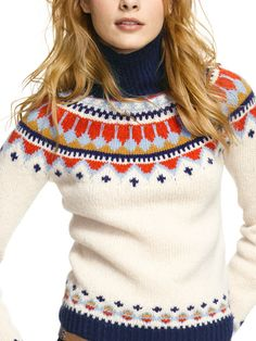 HANDKNIT FAIR ISLE SWEATER  ---  it's LL Bean , but I could probably chart this pattern pretty easily!