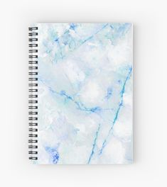 'White and Blue Marble Pattern' Spiral Notebook by Quaintrelle Cute Notebooks For School, Cute Spiral Notebooks, School Christmas Gifts, College Notebook, Cool School Supplies, Office Supplies, School Suplies, Cute Journals, Stationary School