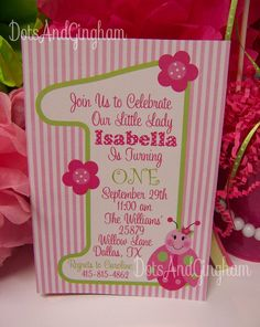 Items Similar To Pink And Green Ladybug Invitation Invite 1st Birthday Party Printable