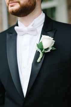 rose wedding boutonniere; photo: Michelle Lange Photography