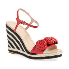 kate spade new york 'jill' espadrille wedge sandal (£165) ❤ liked on Polyvore featuring shoes, sandals, maraschino patent, red sandals, ankle strap wedge sandals, wedge sandals, embellished wedge sandals and ankle strap sandals