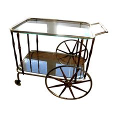 Vintage Drinks Trolley with Bamboo Style Wooden Legs