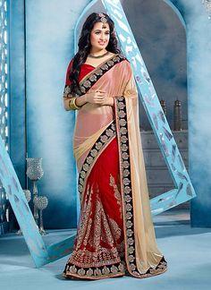 Wonderful Plain Pallu Saree in Cream & Deep Scarlet Color - IVYH074901A4Y   Indian Trendz