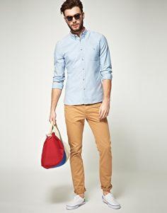 Men's Light Blue Polo, Orange Shorts, White Low Top Sneakers ...