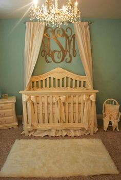 Blue and gold baby room | gold monogram over crib | Chandelier | baby room | baby nursery