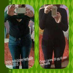 I miei risultati nei primi 20 giorni dall' inizio del programma Nutrizione Herbalife! 3 kg in meno, fianchi e pancia diminuiti visibilmente!! Energia al massimo!! Mi sento benissimo!