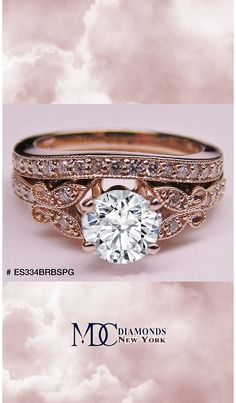Butterfly Vintage Engagement Ring & Matching Wedding Band