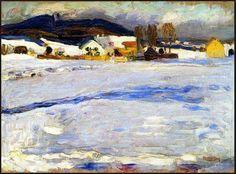 Wassily Kandinsky, at Starnberg-Winter, 1902 Kandinsky Art, Wassily Kandinsky Paintings, Monet, Piet Mondrian, Art Moderne, Art Abstrait, Russian Art, Winter Landscape, Art And Architecture