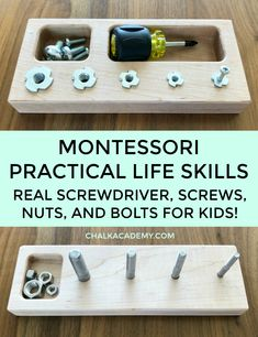 Montessori practical life skills: real screwdriver, screws, nuts, bolts toy for kids who love playing with tools! #montessori #woodtoys