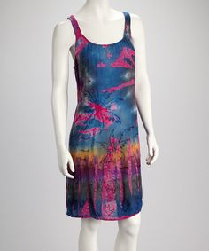 Pink & Blue Tie-Dye Palm Dress $16.99, regular 25.00