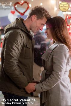 """Lacey Chabert and Andrew Walker share a loving moment in the middle of a wine festival. """"My Secret Valentine"""" premieres February 3 at 9/8c!  #MySecretValentine  #CountdownToValentinesDay #HallmarkChannel"""