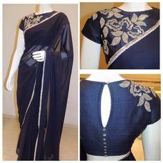 The saree and the blouse looks awesome. Sari Blouse Designs, Saree Blouse Patterns, Indian Blouse, Indian Sarees, Indian Attire, Indian Ethnic Wear, Red Lehenga, Anarkali, Blue Saree