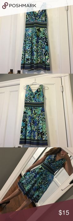 👗💙V neck pullover dress💙👗 Multicolored tones of blue & green make this fun pullover dress perfect for any occasion!  Pullover w V neck in front & back.  Material has stretch to it for easy fit.  Dress it up or down!  Easy breezy, perfect little summer dress! Dress Barn Dresses