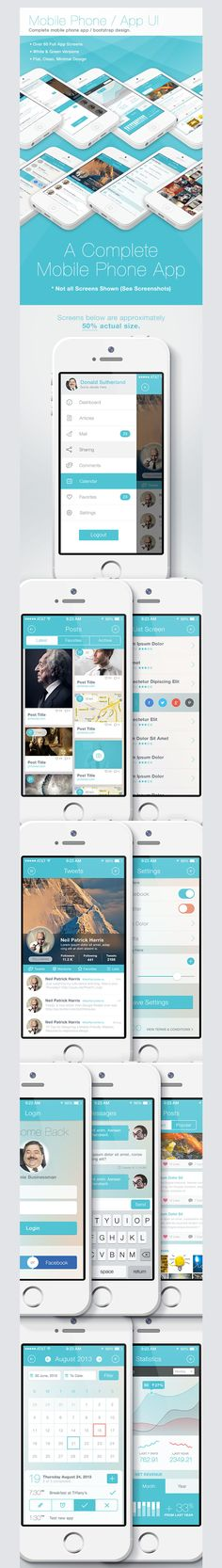 Flat iPhone iOS 7 - Mobile App Bootstrap UI
