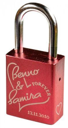 Rotes Liebesschloss graviert Personalized Items