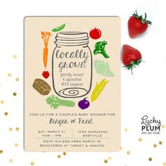 Locally Made Baby Shower Invitation Design / Are you throwing a locally grown or organic themed baby shower? This mason jar farm freshed vegetables and fruits shower will sure to please any organic loving mom to be. c #BabyShower #Organic