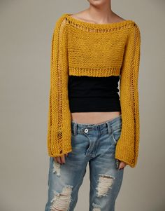 Hand Knit sweater - Little shrug, cover up top, scarf in Mustard Yellow