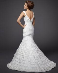 love the back view, layered silk taffeta wedding dress. bebe bridal by rami kashou