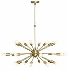 Mid Century Modern Brushed Brass Sputnik Chandelier Light Fitting 24 Arms Bulbs 32inch diam by InscapesDesign on Etsy https://www.etsy.com/ie/listing/514073923/mid-century-modern-brushed-brass-sputnik