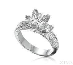 Princess Cut Engagement Ring with Princess Cut  Pave Diamonds