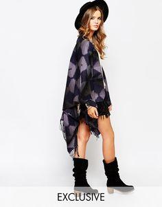 Spiritual Hippie Blanket Wrap Cardigan With Hippie Zig Zag Pattern