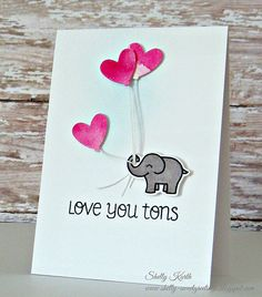 Lawn Fawn - Love You Tons + coordinating die, Hello Sunshine coordinating die… Miss You Cards, Love Cards, Card Making Inspiration, Making Ideas, Funny Anniversary Cards, Valentine's Cards For Kids, Lawn Fawn Stamps, Pretty Cards, Card Tags