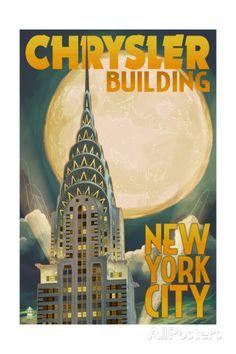 New York - Chrysler Building & Full Moon - Lantern Press Artwork Giclee Art Print, Gallery Framed, Espresso Wood), Multi Chrysler Building, Manhattan, Art Deco Posters, New York Art, Modern Photography, Night Photography, Landscape Photography, Dream City, Art Graphique