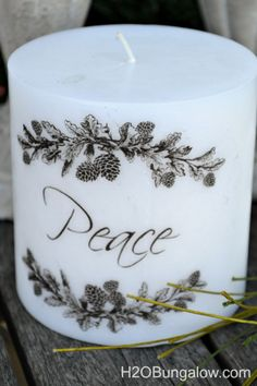 Simple tutorial shows how to add images to candles with a heat gun and tissue paper. Instantly dress up candles for gifts, holidays and personalization