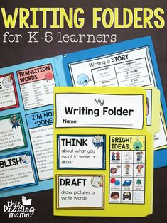 Use these free Writing Folders and freebies to give your writers support during their independent writing time. Writing Strategies, Writing Lessons, Writing Process, Kindergarten Writing, Teaching Writing, Writing Help, Writing Workshop, Writers Workshop Folders, Writing Centers