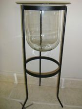 Excellent PARTYLITE SEVILLE 3 Wick Metal Floor Stand & Glass Candle Holder