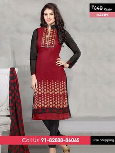 Maroon Black New Chanderi Suit @ Rs 849/- Only Shop Now :- http://www.enasasta.com/deal/maroon-black-new-chanderi-suit OR Call/WhatsAp-8288886065  Product Info ESC34P5  Deal is Valid For Today Only  Fabric Top: Chanderi Cotton  Bottom: Cotton  Dupatta : Nazneen Print  Fabric Semi Stitched  Get 5 % Extra Discount for Advance Payment via PayUMoney  Cash On Delivery Available !! FREE Shipping All Over India!!