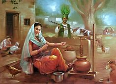Old Punjabi Culture : Churning Curd to Make Butter Punjab Culture, Rajasthani Painting, Composition Painting, Art Village, Indian Art Paintings, India Art, Woman Painting, Beautiful Paintings, Art Images
