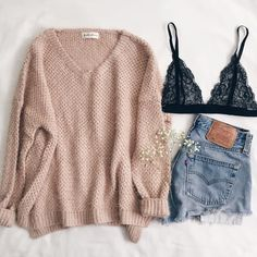 ♡ jeans, pastel pink swearer, with a lace black bralette