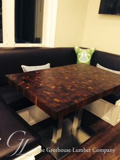 Custom Walnut Butcher Block Dining Table