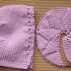 capota bebé dos agujas, knit baby bonnet