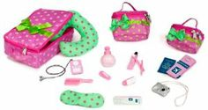 """Our Generation Luggage And Travel Set For 18"""" Dolls by Toysmith. $29.94. Also includes 1 digital music player with headphones, 1 digital camera, 1 nail brush, 1 pair of nail clippers, 1 jar of cuticle cream and 1 tool, 1 comb, 1 toothbrush, 1 toothpaste. Comes with 1 large suitcase, 1 large and 1 small carry-on case, 1 passport, 1 ticket booklet, 1 boarding ticket, 1 neck pillow and 1 sleeping mask. All Our Generation packaging is made from recyclable materials that are easily ..."""