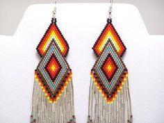 Native American Beaded Sterling Silver Diamond Earrings 2