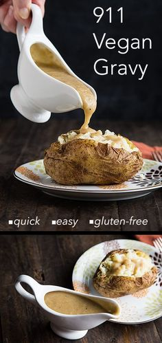 911 Vegan Gravy - Easy, Oil-Free, Gluten-Free Vegan Sauces, Vegan Foods, Vegan Dishes, Healthy Foods, Vegan Recetas, Vegan Gravy, Snacks Saludables, Vegan Christmas, Gluten Free Vegan