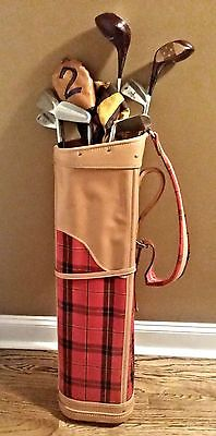 Vintage Golf Club Clubs With Golf Bag Driver Iron Set 2 3 5 6 7 8 9 Wood  Cover 6b11fce081c88
