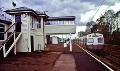 1985 A Hitachi train at Showgrounds station having run a show special from Melbourne Flinders Street, Victoria